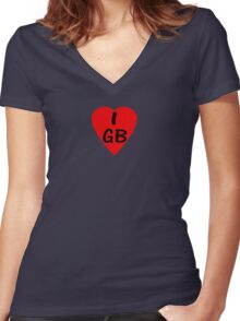 I Love Great Britain - Country Code GB T-Shirt & Sticker Women's Fitted V-Neck T-Shirt