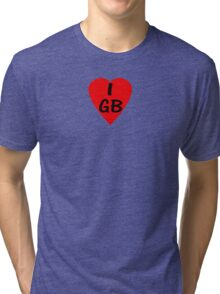 I Love Great Britain - Country Code GB T-Shirt & Sticker Tri-blend T-Shirt