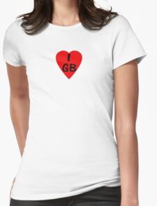 I Love Great Britain - Country Code GB T-Shirt & Sticker Womens Fitted T-Shirt