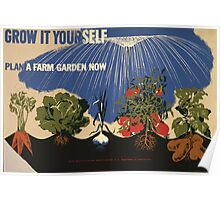 WPA United States Government Work Project Administration Poster 1039 Grow it Yourself Plan a Farm Garden Now Poster