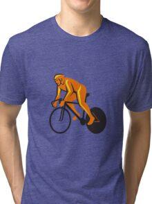 Cyclist Riding Cycling Racing Retro Tri-blend T-Shirt