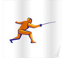 Fencing Thrust Side View Retro Poster