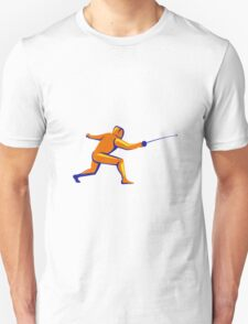 Fencing Thrust Side View Retro T-Shirt