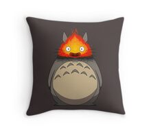 Totoro Meets Calcifer Throw Pillow