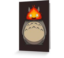 Totoro Meets Calcifer Greeting Card