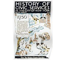 WPA United States Government Work Project Administration Poster 0115 History of Civic Services 1750 Tea Water Pupm Garden Poster