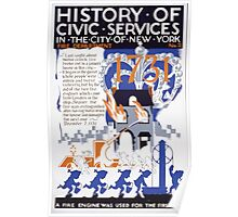 WPA United States Government Work Project Administration Poster 0117 History of Civic Services Fire Department New York City 1731 Poster