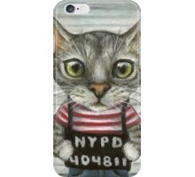 Mugshot of a cat felon arrested while attempting a bank heist iPhone Case/Skin
