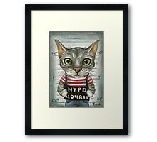 Mugshot of a cat felon arrested while attempting a bank heist Framed Print