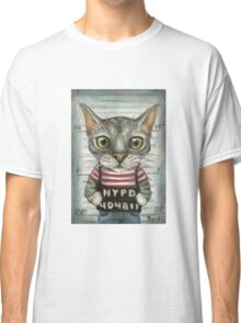 Mugshot of a cat felon arrested while attempting a bank heist Classic T-Shirt