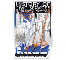 WPA United States Government Work Project Administration Poster 0118 History of Civic Services Fire Department 1936 Machinery Poster