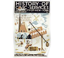 WPA United States Government Work Project Administration Poster 0113 History of Civic Services First Public Well New York City 1658 Poster