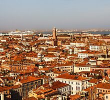 Impressions of Venice - Red Roofs and Cruise Ships by Georgia Mizuleva