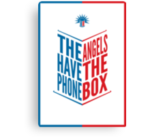 The Angels Have The Phone Box Tribute Poster Dark Blue And Red Knockthrough White Canvas Print