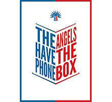 The Angels Have The Phone Box Tribute Poster Dark Blue And Red Knockthrough White Photographic Print