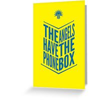 The Angels Have The Phone Box Tribute Poster Dark Blue On Yellow Greeting Card