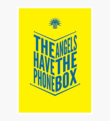 The Angels Have The Phone Box Tribute Poster Dark Blue On Yellow Photographic Print