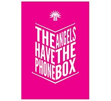 The Angels Have The Phone Box Tribute Poster White on Magenta Photographic Print