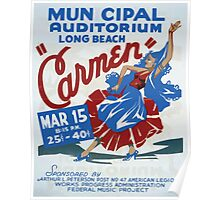 WPA United States Government Work Project Administration Poster 0162 Municipal Auditorium Long Beach Carmen Poster