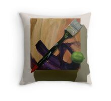 Brush, Marks with Lime Throw Pillow