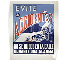 WPA United States Government Work Project Administration Poster 0074 Evite Accidentes Poster