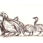 Crowd of guinea fowls  by WoolleyWorld
