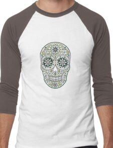 yummy green sugar skull Men's Baseball ¾ T-Shirt