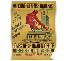 WPA United States Government Work Project Administration Poster 0861 Welcome Defense Workers List And Secure Houses Apartments Rooms Home Registration Office Poster