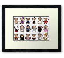 Dress up little bears Framed Print