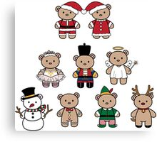 Little Bears in Christmas icons Canvas Print
