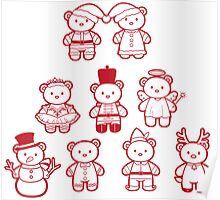 Little Bears in Christmas icons Poster