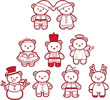 Little Bears in Christmas icons Photographic Print
