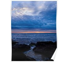 Choppy sea sunrise Poster