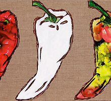 cool hot chilly peppers by Sonia de Macedo-Stewart