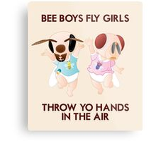 Bee Boys Fly Girls (with text) Metal Print
