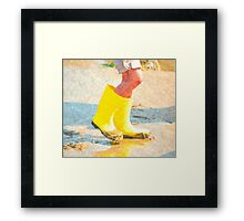 Sand Puddles And Yellow Boots Framed Print