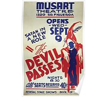 WPA United States Government Work Project Administration Poster 0159 Satan in a New Roll Devil Passes Musart Theatre Poster