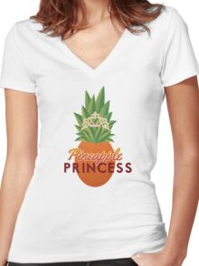 Pineapple Princess Women's Fitted V-Neck T-Shirt
