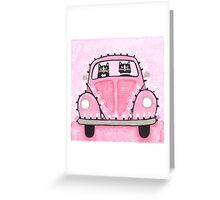 Festive Lights Pink Bug Greeting Card