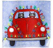 Festive Lights Red Bug Poster