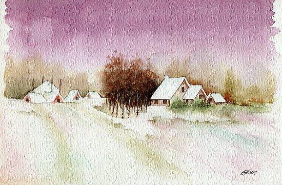 A BEAUTIFUL WINTER - AQUAREL by RainbowArt