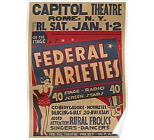 WPA United States Government Work Project Administration Poster 0777 Capitol Theatre Federal Varieties Poster