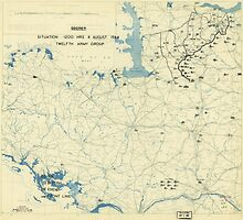 World War II Twelfth Army Group Situation Map August 8 1944 by allhistory