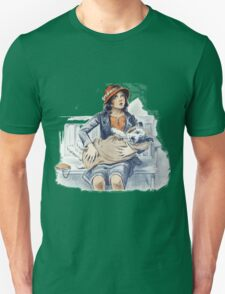 Woman and Dog in Blanket Vintage Unisex T-Shirt
