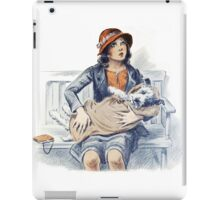 Woman and Dog in Blanket Vintage iPad Case/Skin