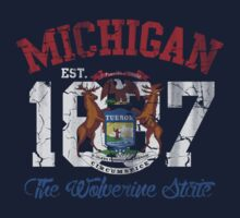 Vintage Michigan Flag Wolverine State One Piece - Short Sleeve