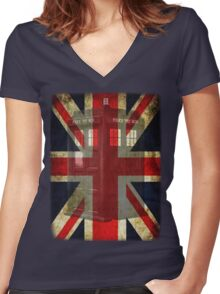 Union Tardis Women's Fitted V-Neck T-Shirt