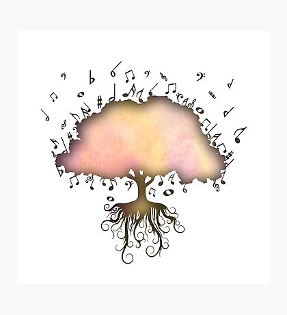 Watercolor Music Tree of Life Photographic Print