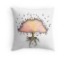 Watercolor Music Tree of Life Throw Pillow