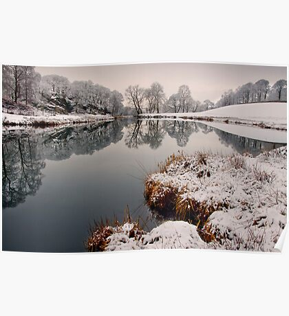 Winter views of the river Brathay  Poster